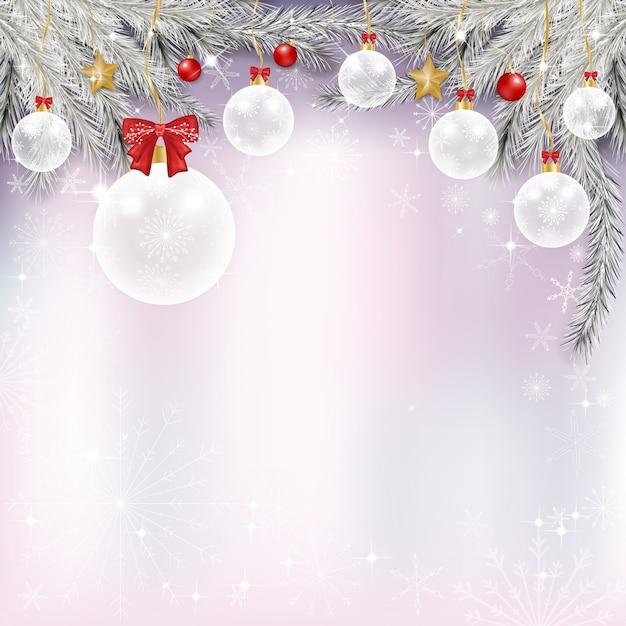 Winter achtergrond met prachtige verschillende rode en witte chritsmas ballen, gouden sterren en sneeuwvlokken Premium Vector