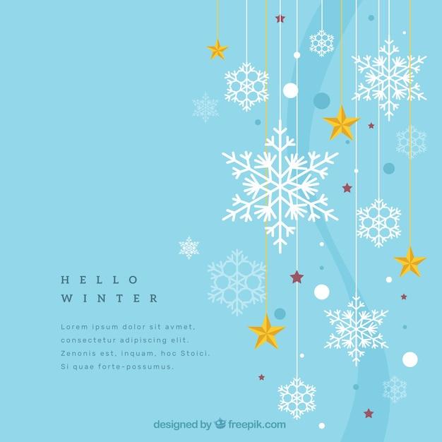Winter achtergrond met sneeuwvlokken en sterren Gratis Vector