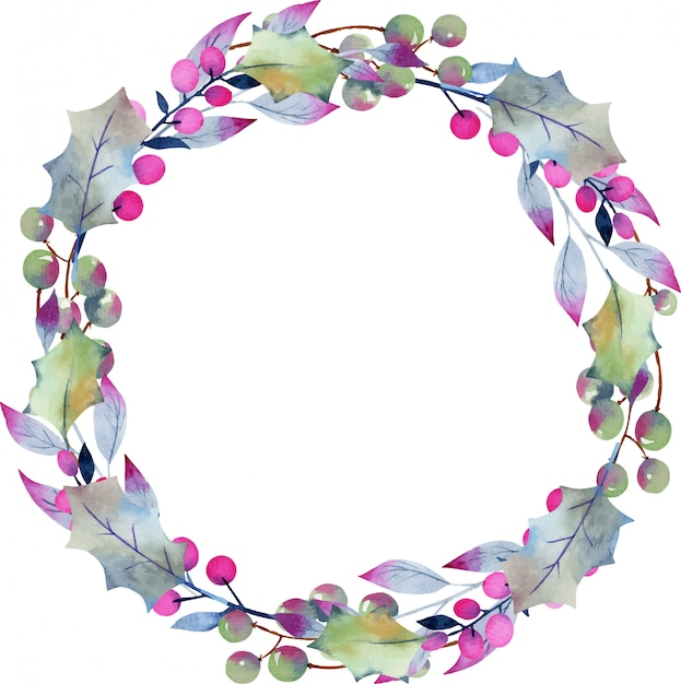 Winter aquarel krans van holly boombladeren en bessen Premium Vector