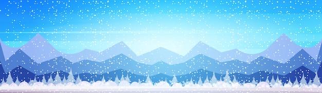 Winter berg bos landschap achtergrond pijnbomen sneeuw bomen hout platte banner Premium Vector