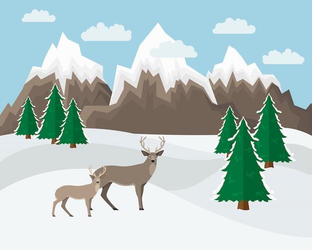 Winter berglandschap Premium Vector