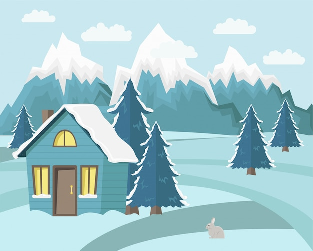 Winter berglandschap Premium Vector