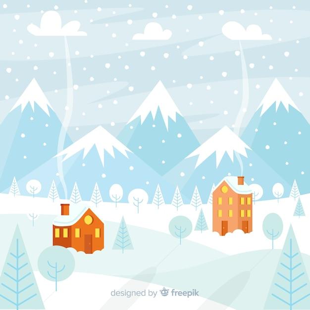 Winter besneeuwde landschap-achtergrond Gratis Vector