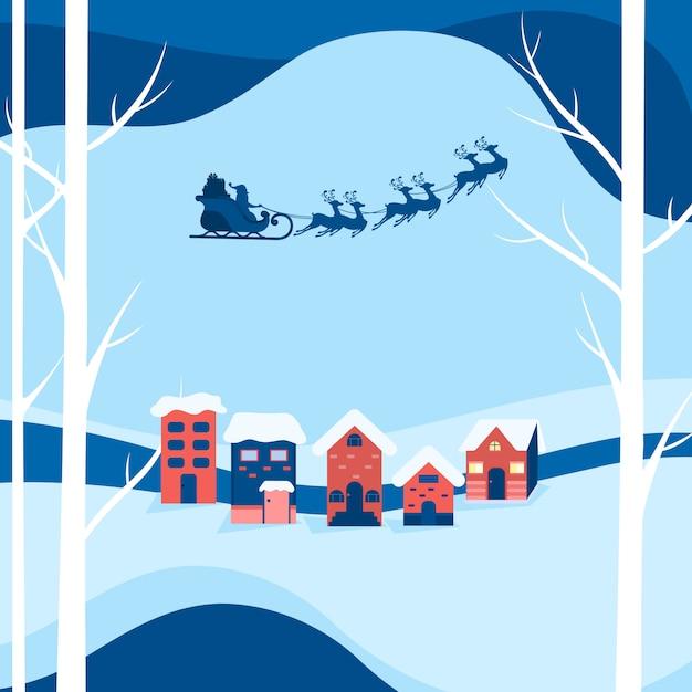 Winter besneeuwde straat. kerstman vliegt met rendier slee Premium Vector