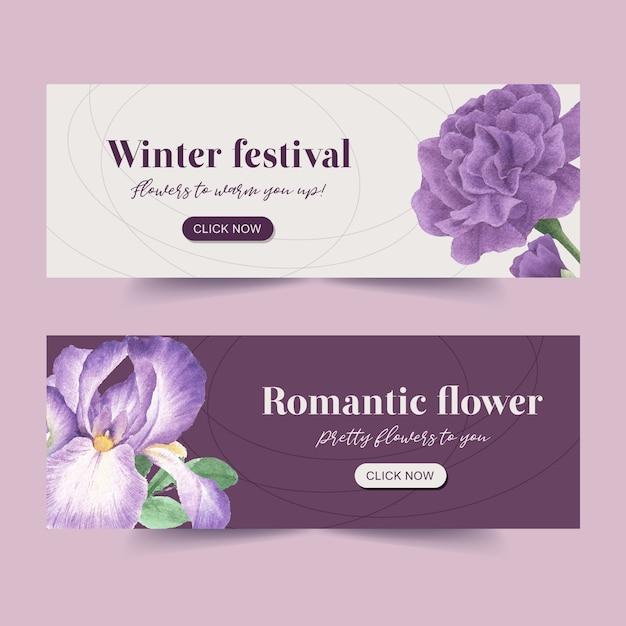 Winter bloei banner met pioen, cattleya bloem Gratis Vector