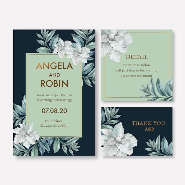 Winter bloei bruiloft kaart met foliages Gratis Vector