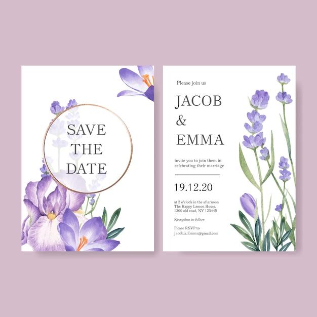 Winter bloei bruiloft kaart met lavendel, cattleya Gratis Vector