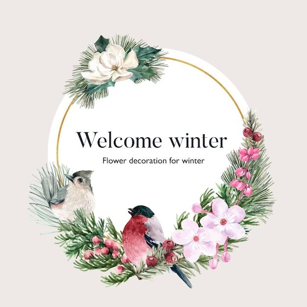 Winter bloei krans met vogel, bloemen, foliages Gratis Vector