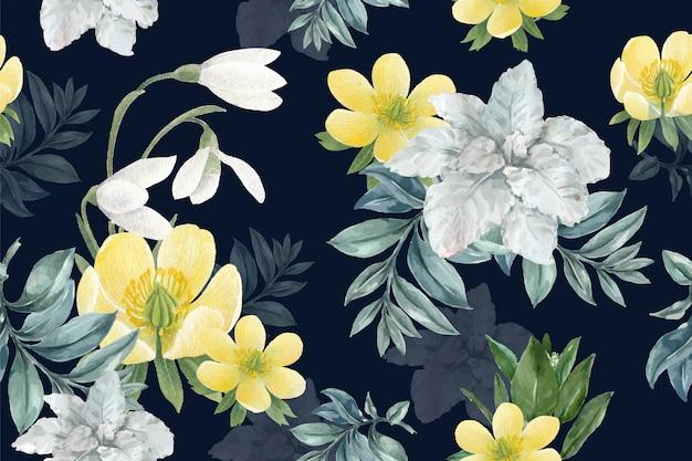 Winter bloei patroon met galanthus, anemoon Gratis Vector