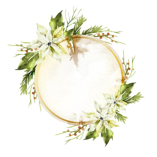 Winter bloemen achtergrond met lege badge Gratis Vector