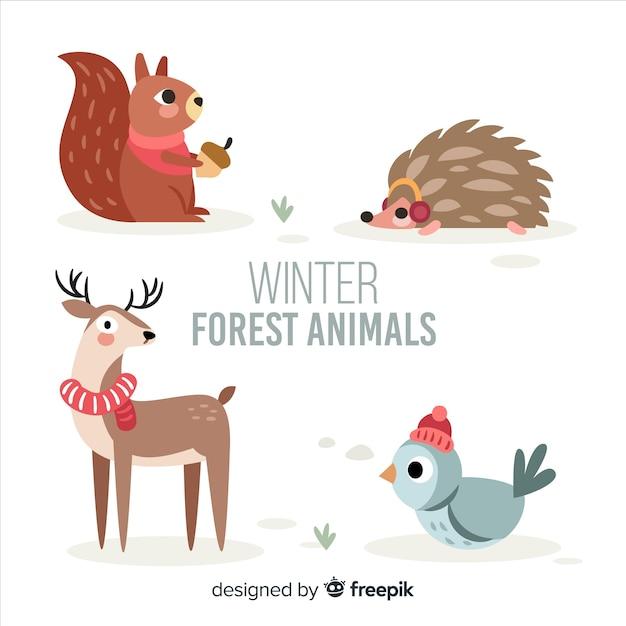 Winter bos dierlijke collectie Gratis Vector