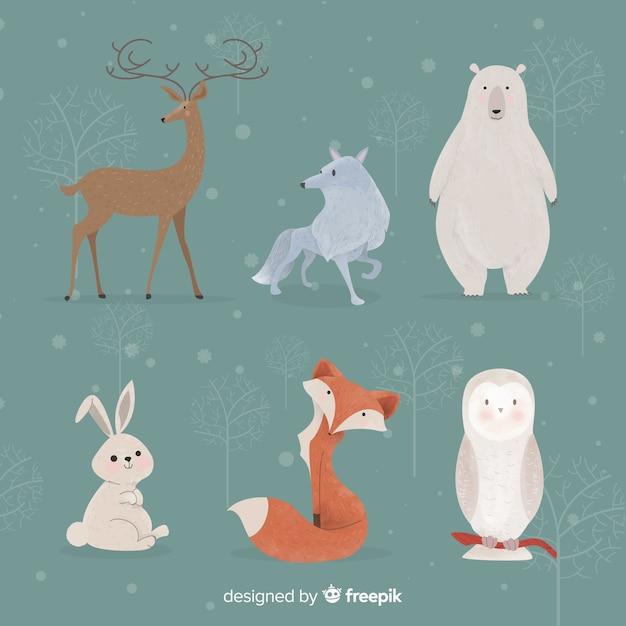 Winter bosdieren collectie Gratis Vector
