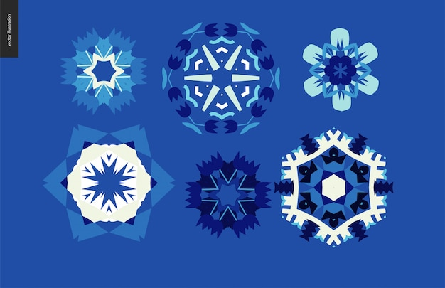 Winter caleidoscopische set Premium Vector
