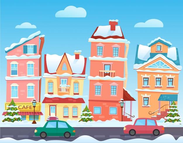 Winter cartoon stad landschap. kerstmis met grappige huizen. besneeuwde stad op vakantieavond. Premium Vector