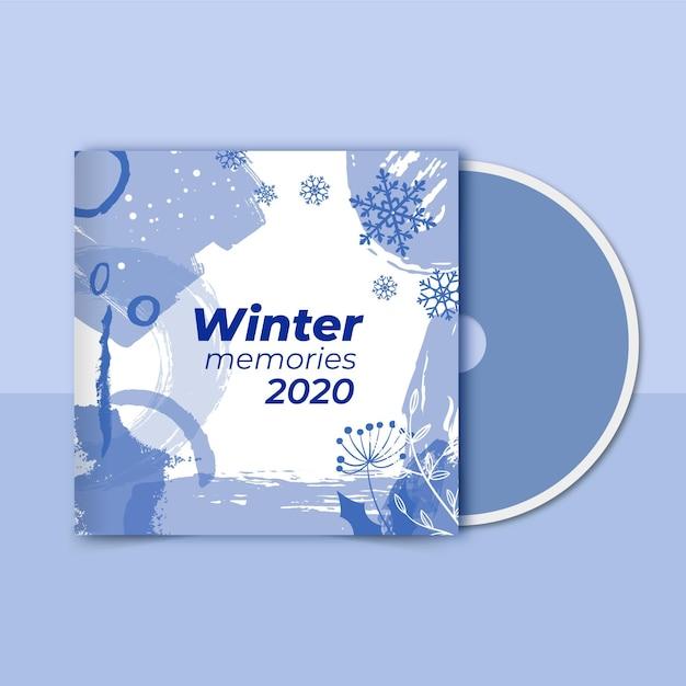 Winter cd voorbladsjabloon Gratis Vector