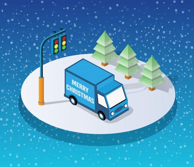 Winter christmass stad Premium Vector