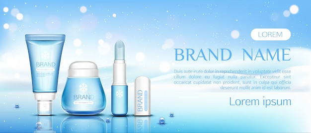 Winter cosmetische chapstick, lippenbalsem en zalfpotje Gratis Vector