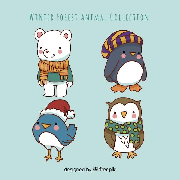 Winter dieren collectie Gratis Vector