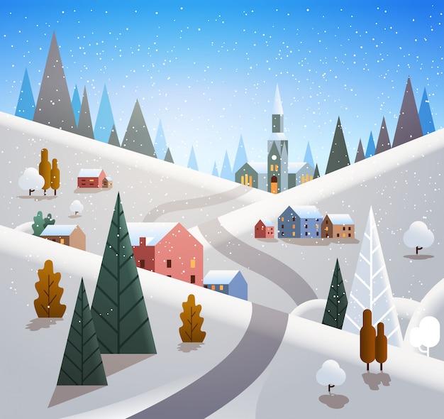 Winter dorp huizen bergen heuvels landschap sneeuwval Premium Vector