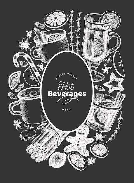 Winter dranken vector ontwerpsjabloon. hand getekend gegraveerde stijl glühwein, warme chocolademelk, kruiden illustraties op schoolbord. Premium Vector