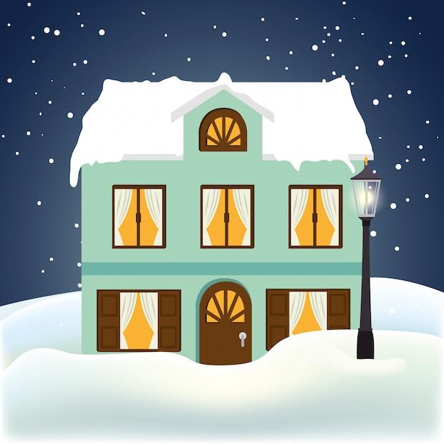 Winter en gebouwen Gratis Vector