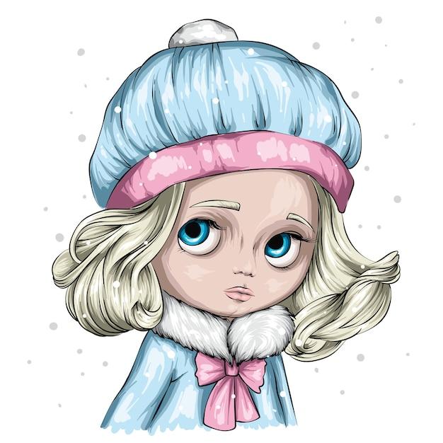 Winter en kerstmis illustratie. schattig klein meisje in een stijlvolle wintermuts en trui. Premium Vector