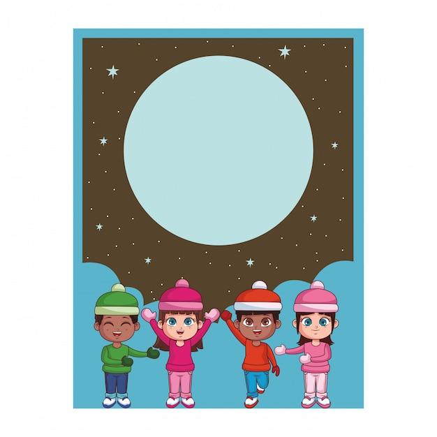 Winter en kinderen kaart Premium Vector