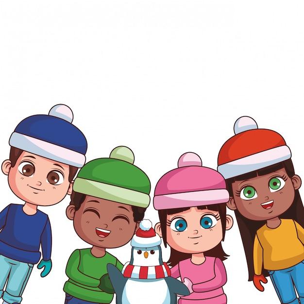 Winter en kinderen Premium Vector