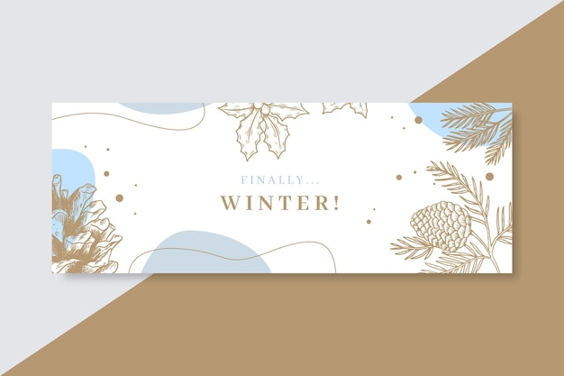 Winter facebook voorbladsjabloon Gratis Vector