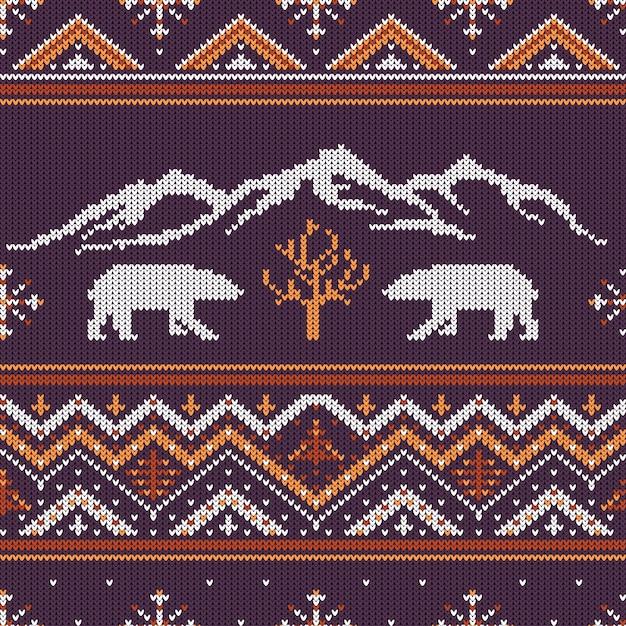 Winter gebreide wollen patroon met ijsberen en bergen Premium Vector
