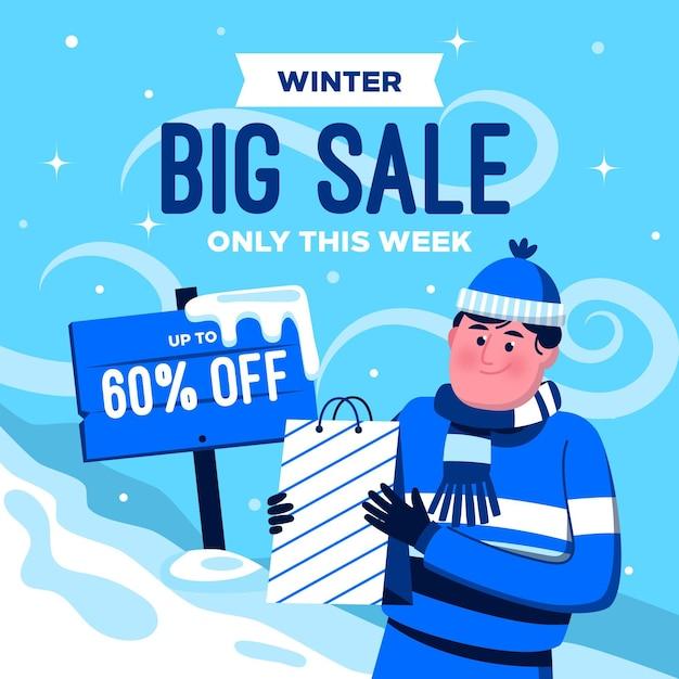 Winter grote verkoop illustratie Gratis Vector