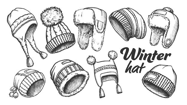Winter hoed kleding accessoire retro set Premium Vector