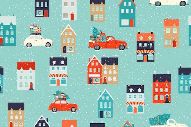 Winter huizen voor kerstmis en rode retro auto met een dennenboom en geschenken. naadloze patroon Premium Vector