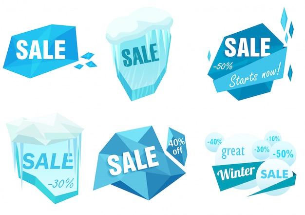 Winter ijs verkoop tags instellen Premium Vector
