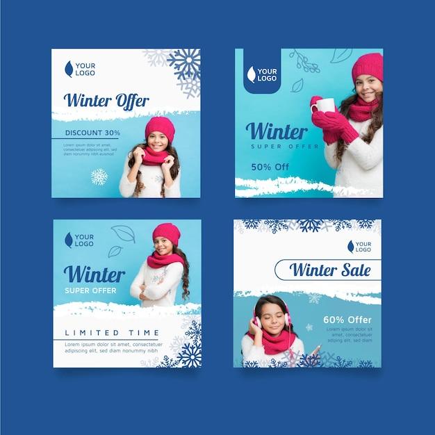 Winter instagram post collectie Gratis Vector