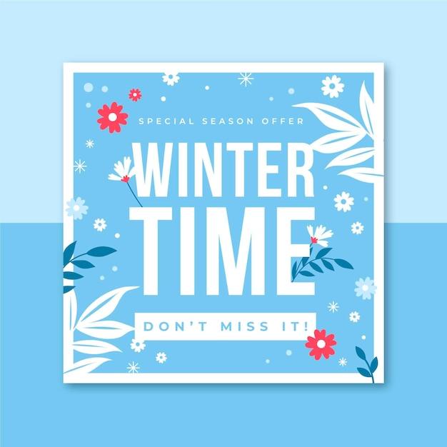 Winter instagram postsjabloon Gratis Vector