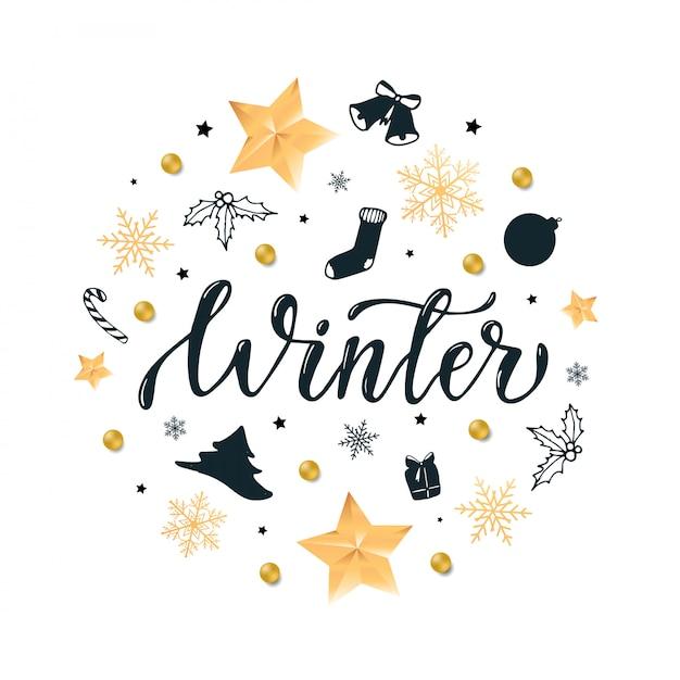 'winter' kalligrafie citaat ingericht Premium Vector