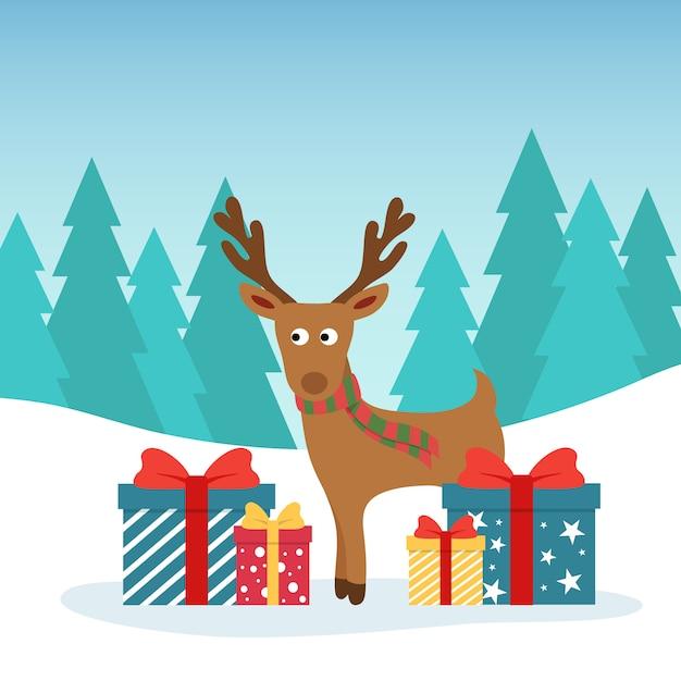 Winter kerst illustratie. grappige herten met cadeau gekleurde dozen. Premium Vector