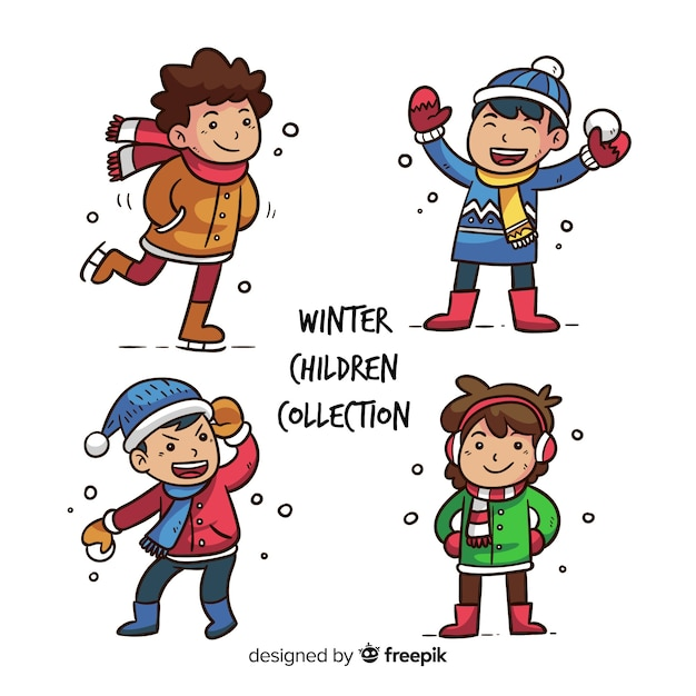 Winter kinderen collectie Gratis Vector