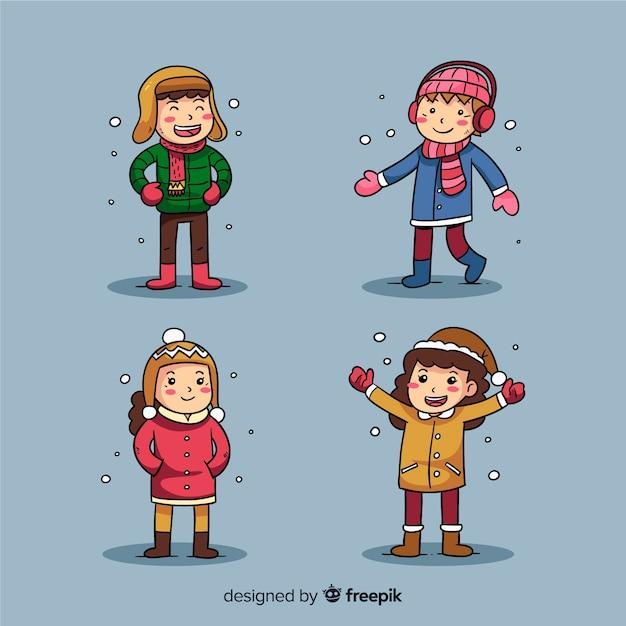Winter kinderen collectie Gratis Vector