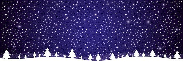 Winter ladscape sneeuw boom bos Premium Vector