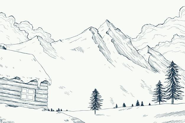 Winter landschap concept in de hand getekend Premium Vector