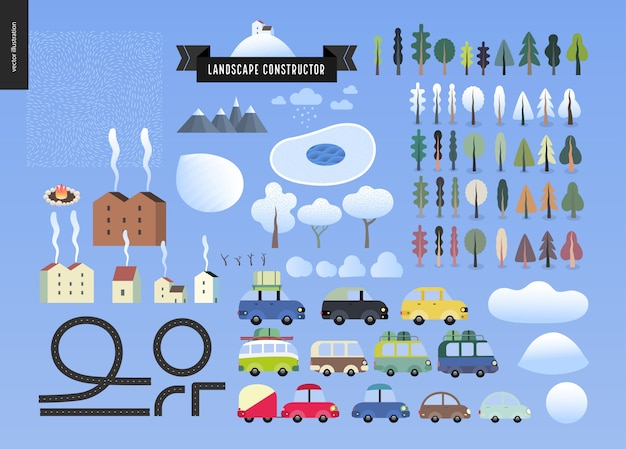 Winter landschap constructor Premium Vector