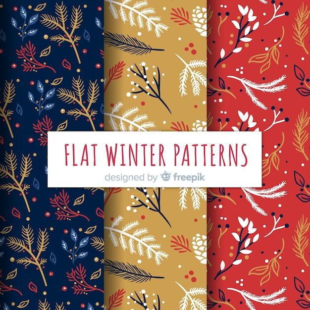 Winter patronen collectie Gratis Vector