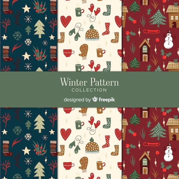 Winter patroon collectie Gratis Vector