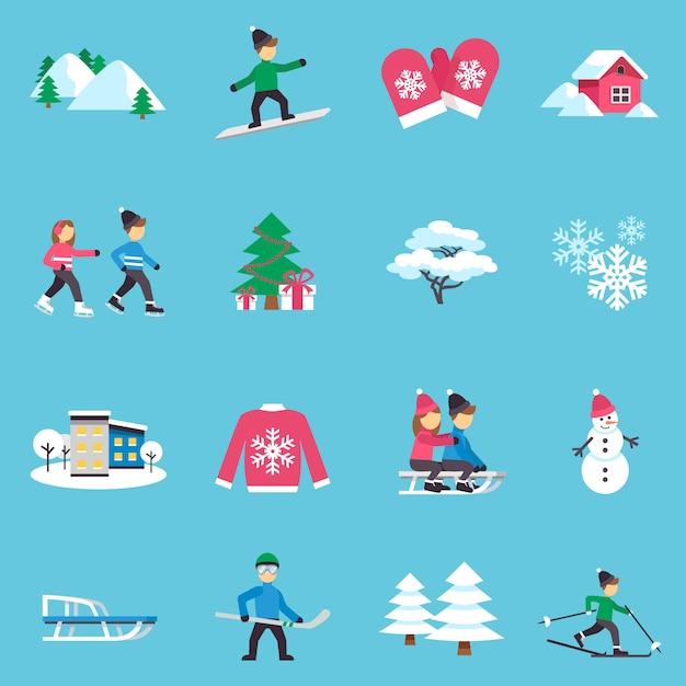 Winter plat pictogrammen instellen Gratis Vector