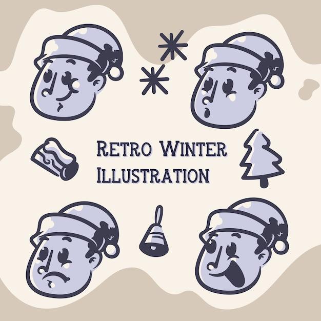 Winter retro illustraties Premium Vector