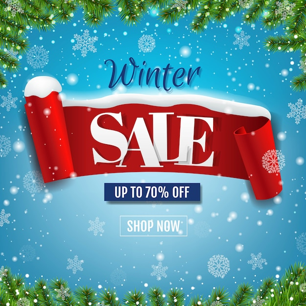 Winter sale blauwe banner met rood lint en sneeuw Premium Vector