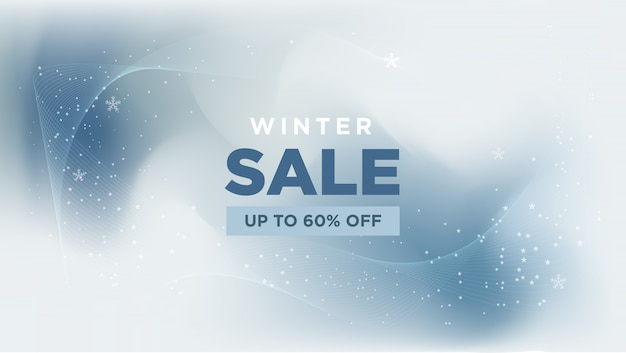 Winter sale met abstracte banner Premium Vector