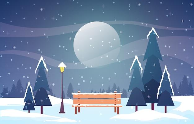 Winter scène sneeuw landschap met pijnbomen berg Premium Vector